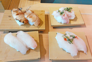 クロシビカマス、マトウダイ、コブダイ、炙りトロカレイ,寿司