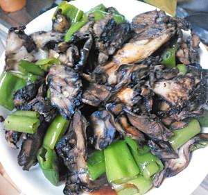 甘辛とうがらしとトビタケの炒め物